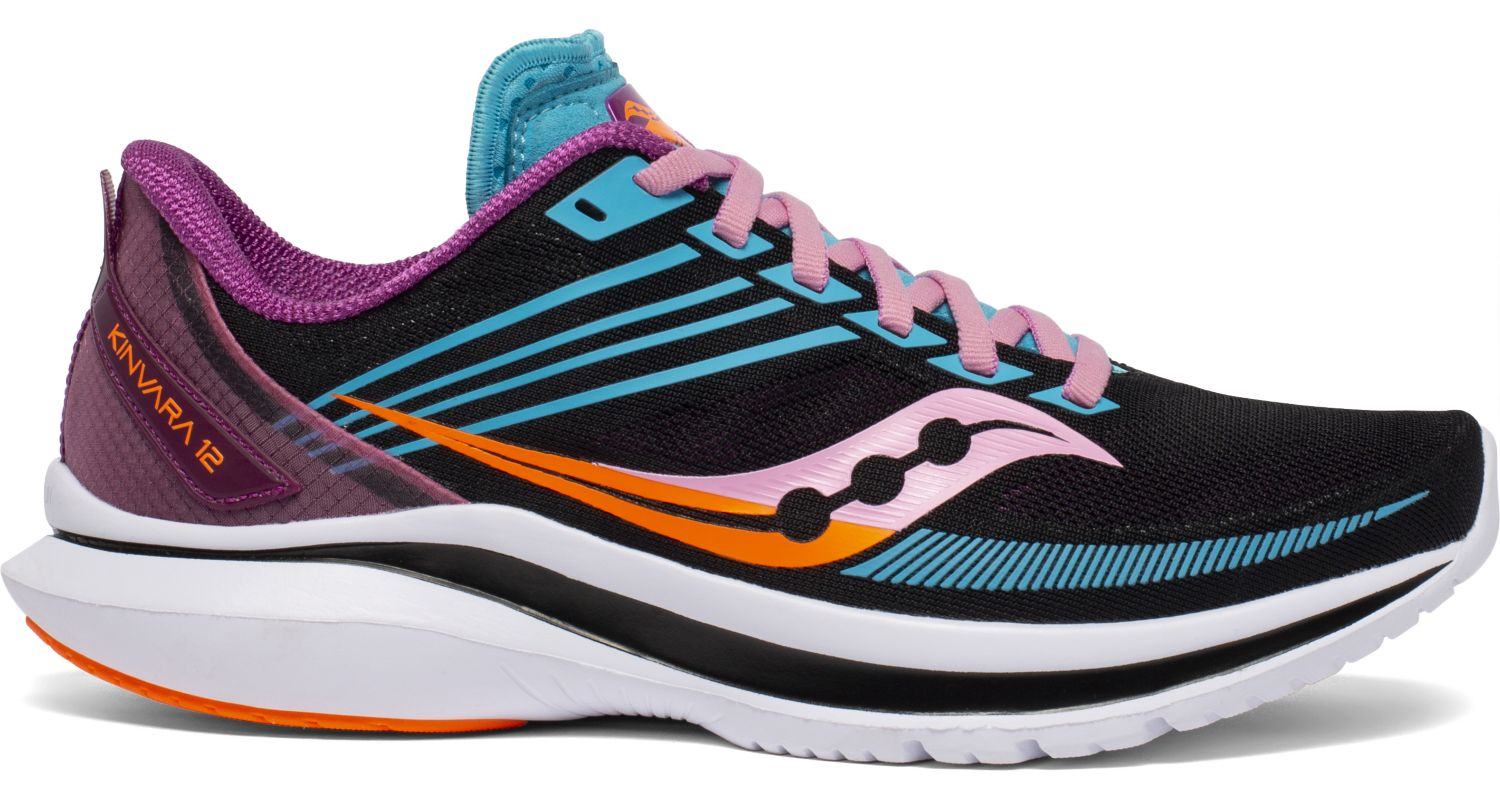 Women's Saucony Kinvara 12 Running Shoe in Future/Black from the side