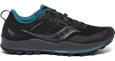Women's Saucony Peregrine 10 GTX Trail Running Shoe Black/Marine