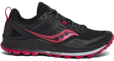 Saucony Women's Peregrine 10 Trail Running Shoe in Black/Barberry from the side
