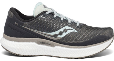 Saucony Women's Triumph 18 Running Shoe in Charcoal/Sky from the side