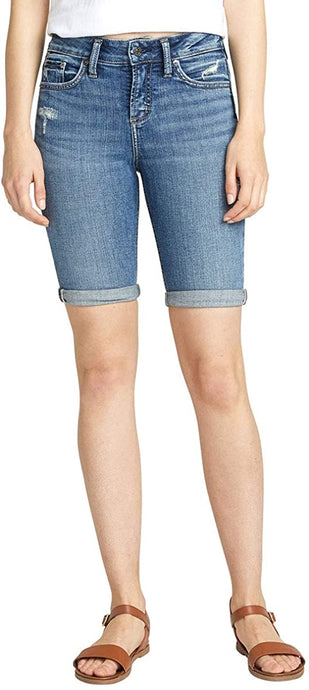 Women's Silver Jeans Avery Bermuda Short Indigo in front view