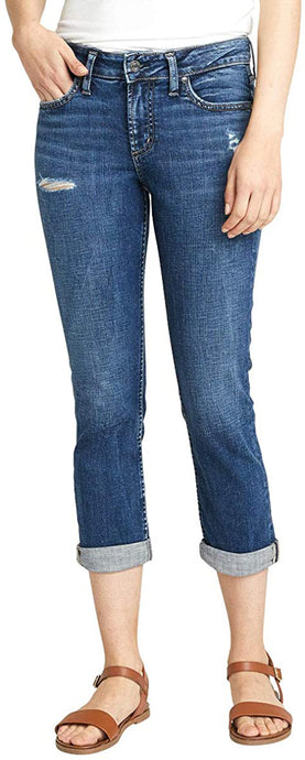 Women's Silver Jeans Elyse Curvy Fit Mid Rise Capri Jean in Distressed Dark Indigo Wash from the front