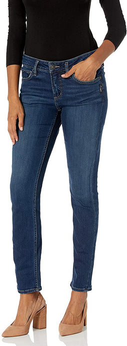 Women's Silver Jeans Elyse Curvy Fit Mid Rise Straight Leg Jean in Dark Indigo Rinse from the front