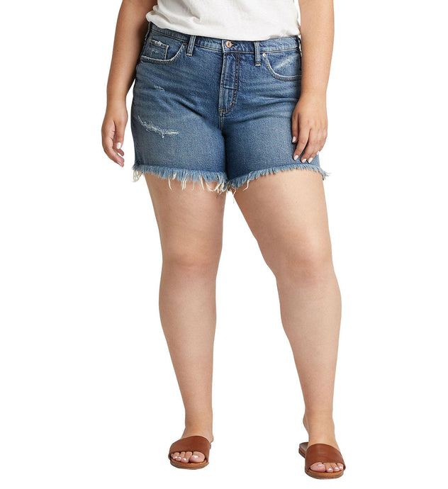 Women's Silver Jeans Not Your Boyfriends Plus Size Short Indigo in front view