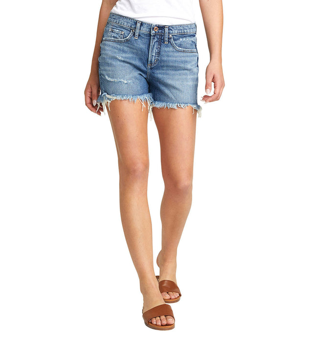 Women's Silver Jeans Not Your Boyfriends Short Indigo in front view