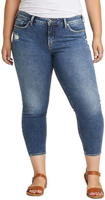 Women's Silver Jeans Plus Size Suki Mid Rise Skinny Crop Jeans in Classic Dark Indigo from the front