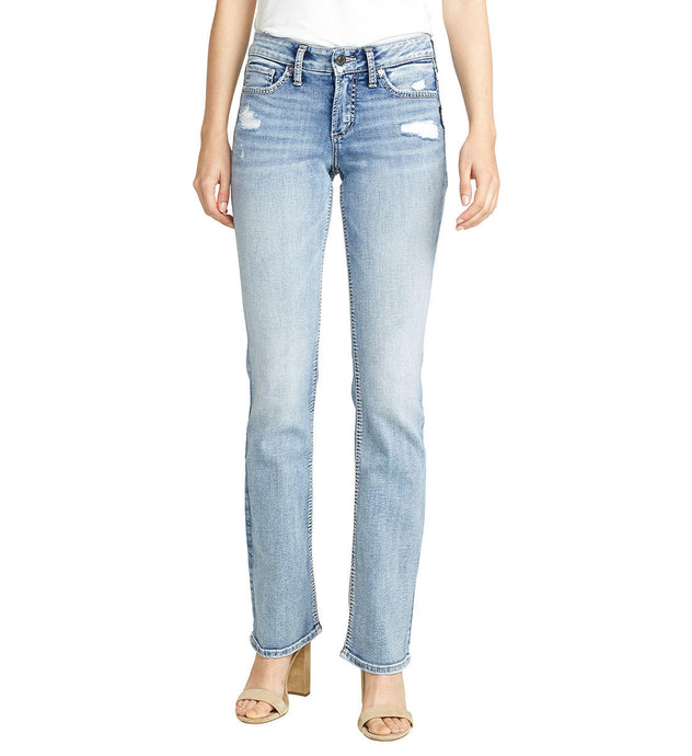 Women's Silver Jeans Suki Curvy Fit Mid Rise Bootcut Jeans in Light Indigo Wash from the front