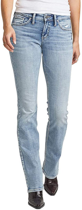 Women's Silver Jeans Suki Curvy Fit Mid Rise Slim Bootcut Jeans in Faux Flap Light Wash from the front