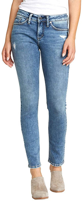 Women's Silver Jeans Suki Curvy Fit Mid Rise Slim Leg Jeans in Distressed Medium Wash from the front