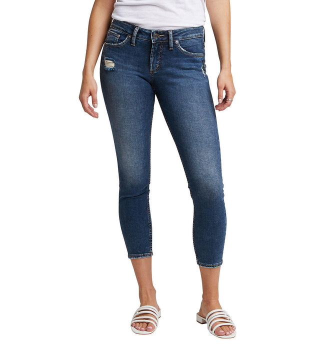 Women's Silver Jeans Suki Skinny Crop Jeans in Dark Indigo Wash from the front
