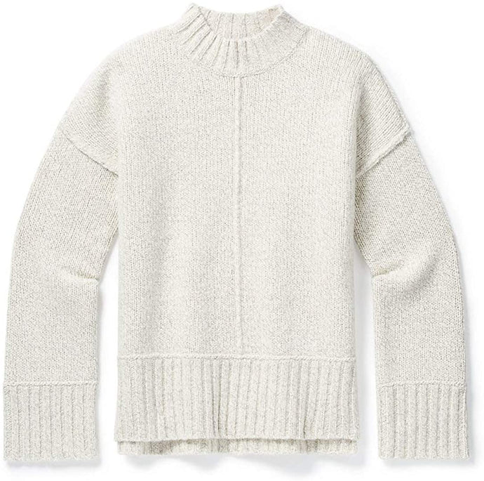 Women's Smartwool Bell Meadow Sweater in Ash-Light Gray Heather Marl from the front view