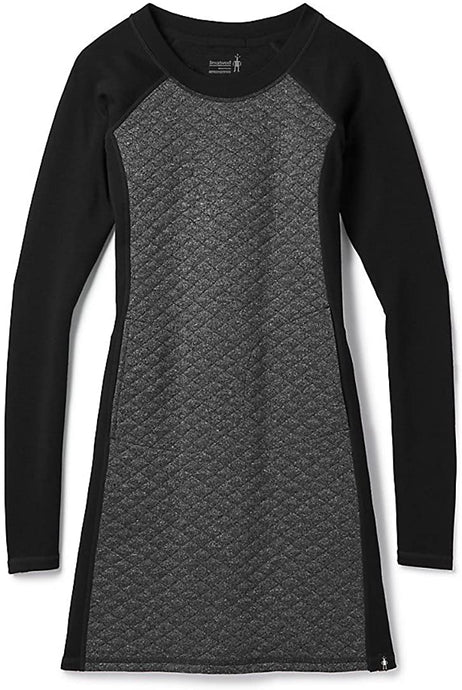 Women's Smartwool Diamond Peak Quilted Dress in Black Heather color from the front view