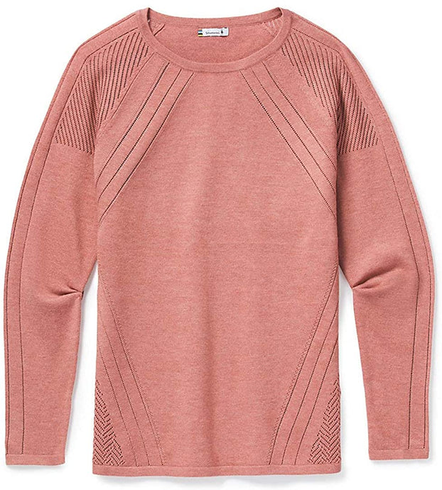 Women's Smartwool Edgewood Crew Sweater in Canyon Rose Heather from the front view