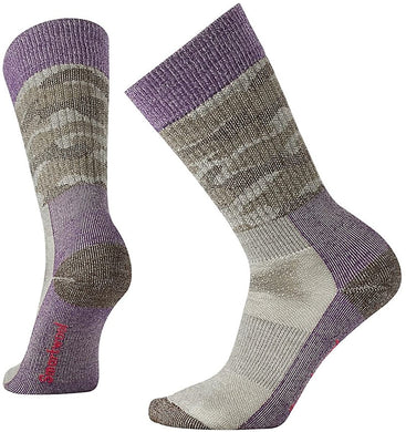 Women's Smartwool Hunt Camo Medium Crew Socks in Bordeaux from the front view