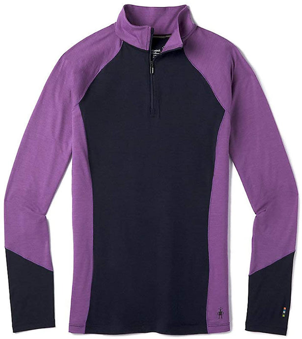 Women's Smartwool Merino 150 Base Layer Color Block 1/4 Zip Jacket in Deep Navy from the front