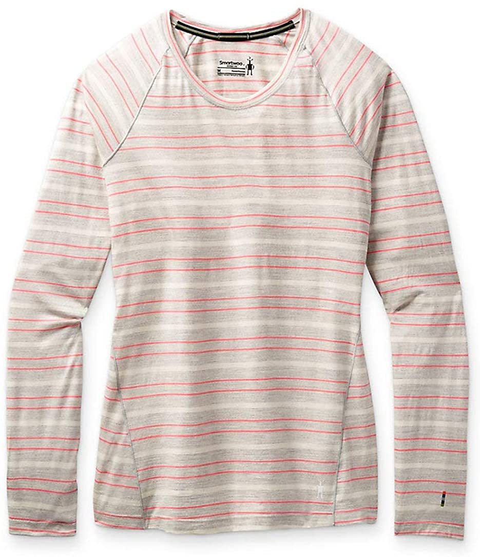 Women's Smartwool Merino 150 Base Layer Long Sleeve in Ash Heather Stripe view from the front