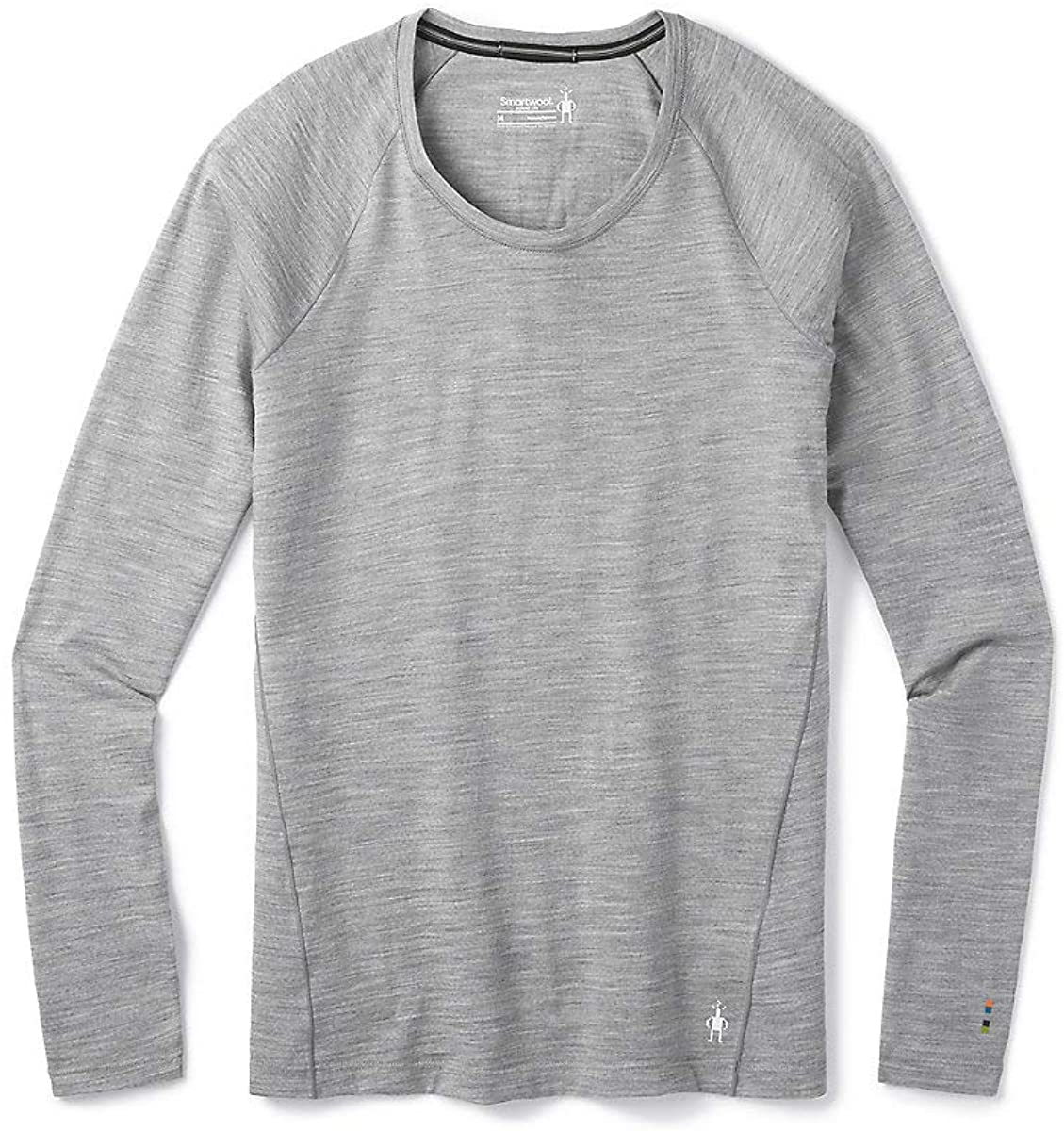 Women's Smartwool Merino 150 Base Layer Long Sleeve in Light Gray Heather from the side view