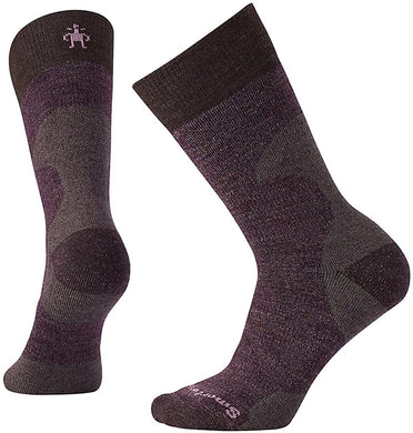 Women's Smartwool PhD Hunt Medium Crew Socks in Bordeaux from the front view