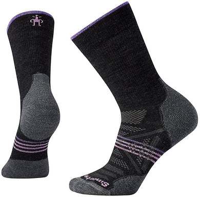 Women's Smartwool PhD Outdoor Light Hiking Crew Socks in Charcoal from the front view