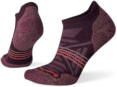 Women's Smartwool PhD Outdoor Light Hiking Micro Socks in Bordeaux from the front view