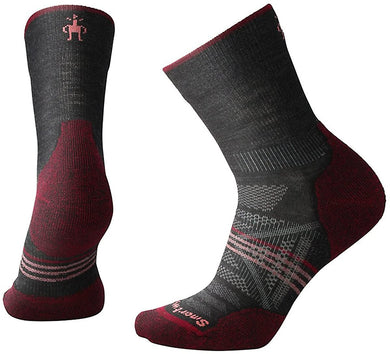 Women's Smartwool PhD Outdoor Light Hiking Mid Crew Socks in Charcoal from the front view