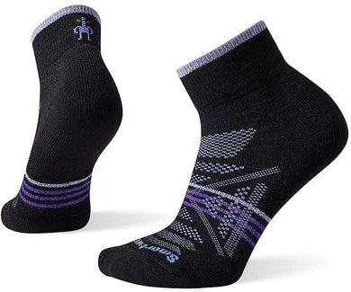 Women's Smartwool PhD Outdoor Light Hiking Mini Socks in Black from the front view