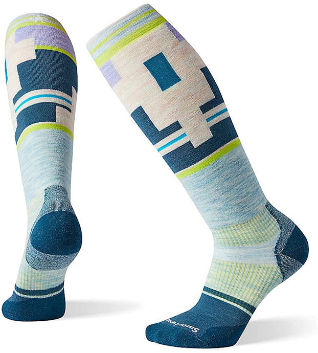 Women's Smartwool PhD Snow Light Elite Socks in Frosty Green from the side view