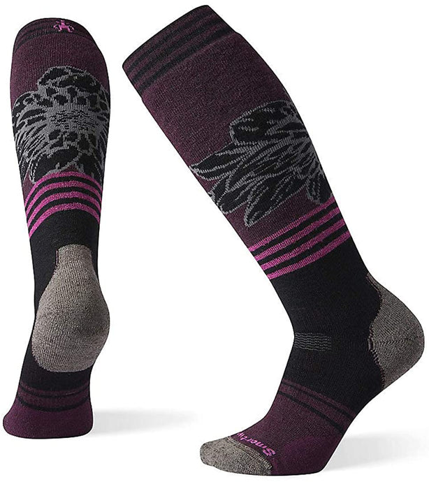 Smartwool Women's PhD Snow Medium Traced Dahlia Pattern Sock from the side view