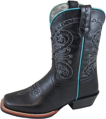Women's Smoky Mountain Shelby Pull On Straps Stitched Design Square Toe Boot in Brown Waxed Distress