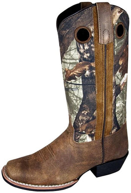 Women's Smoky Mountain Tupelo Square Toe Western Boot in Brown Distress/Brown Camo