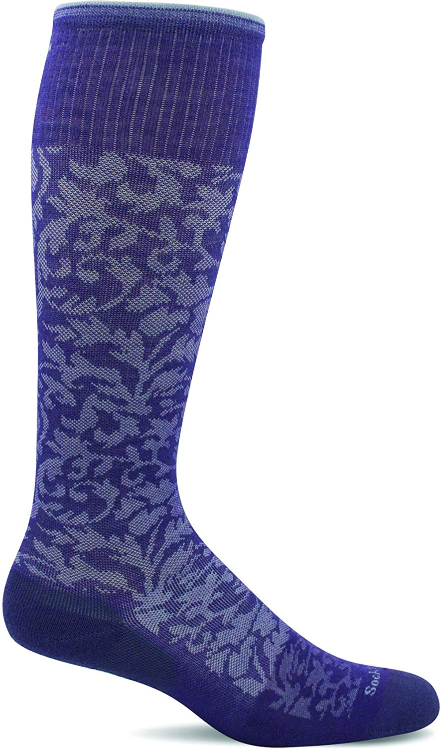 Sockwell Women's Damask Moderate Graduated Compression Sock in Plum from the side