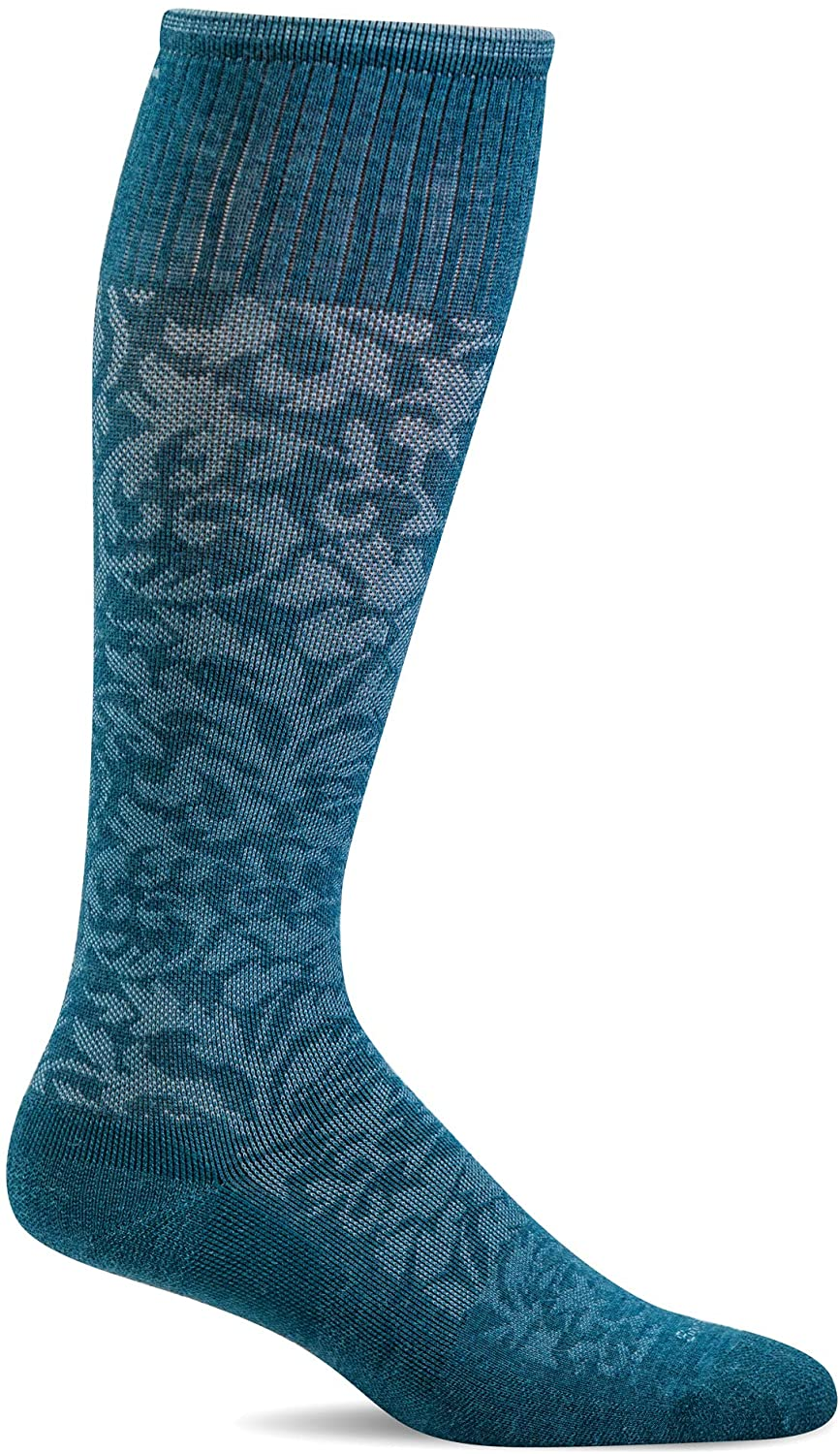 Sockwell Women's Damask Moderate Graduated Compression Sock in Teal Blue from the side