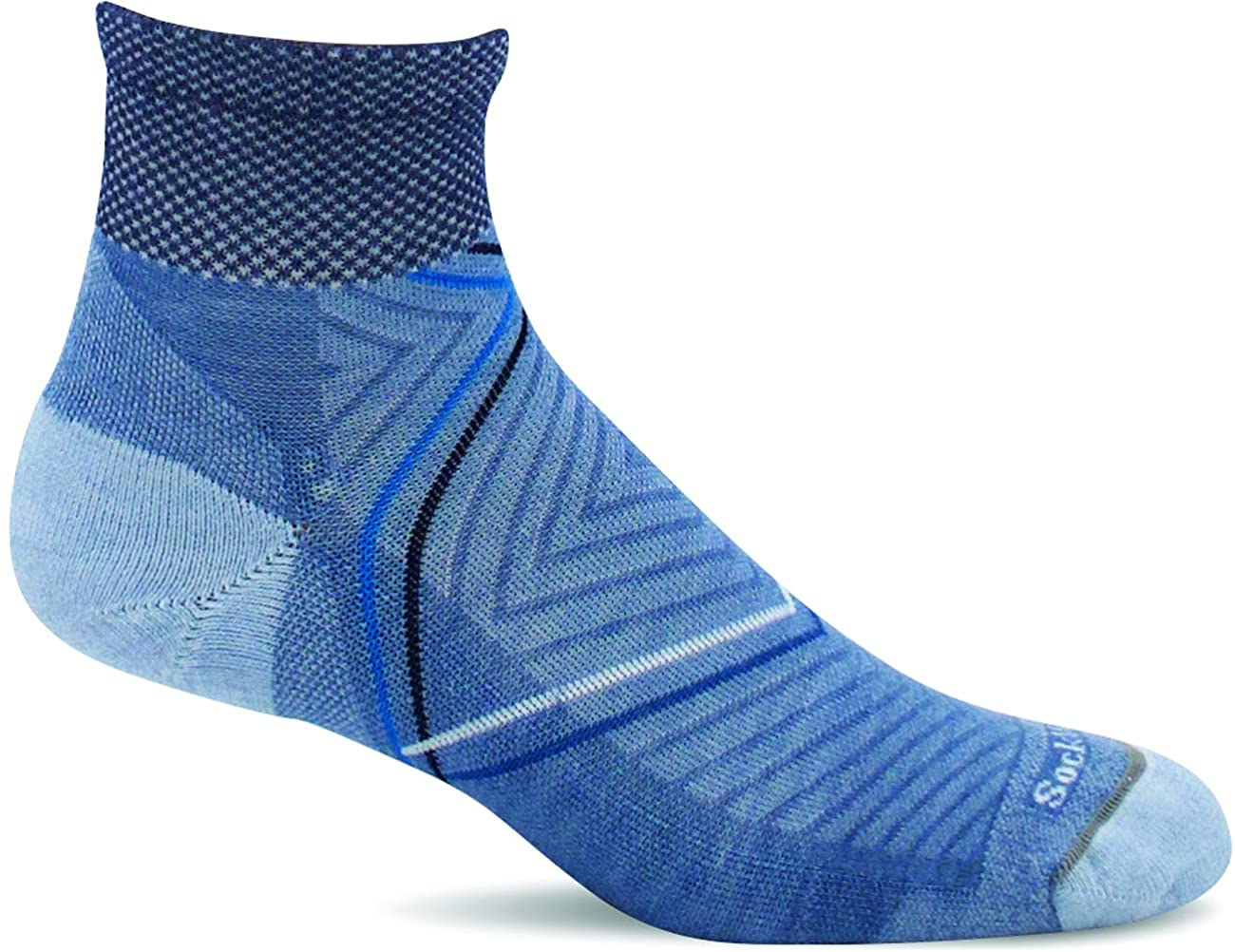 Sockwell Women's Pulse Quarter Firm Compression Sock in Bluestone from the side