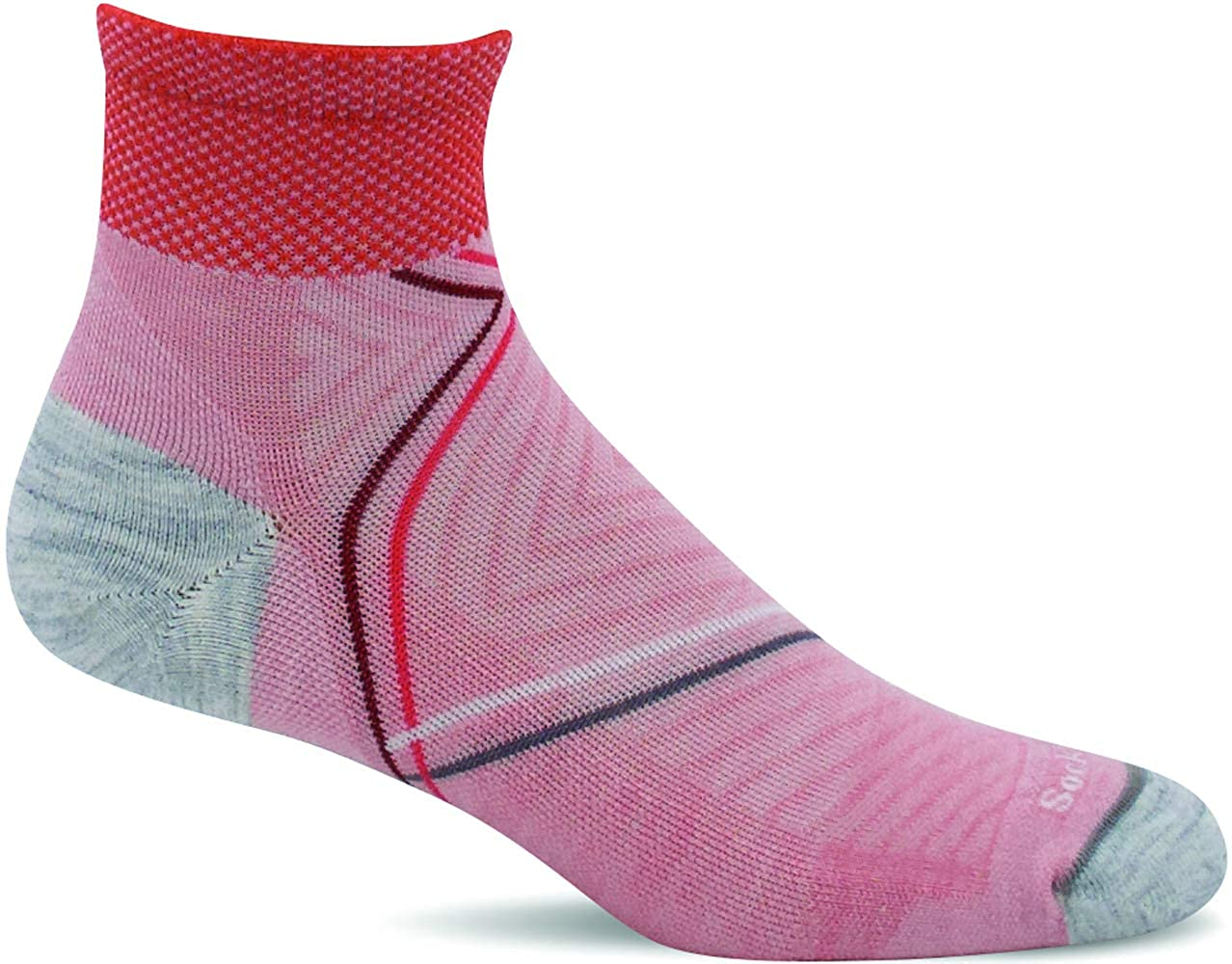 Sockwell Women's Pulse Quarter Firm Compression Sock in Rose from the side