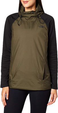 Women's The North Face Canyonlands Insulated Hybrid Pullover Hoodie in New Taupe Green/TNF Black