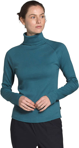 Women's The North Face Explore City Long-Sleeve Cotton Turtleneck Shirt in Mallard Blue