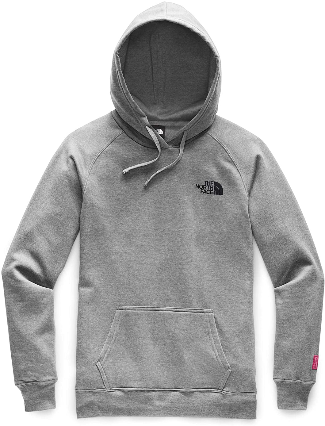 Women's The North Face Pink Ribbon Pull Over Hoodie in TNF MEDIUM GREY HEATHER from the front