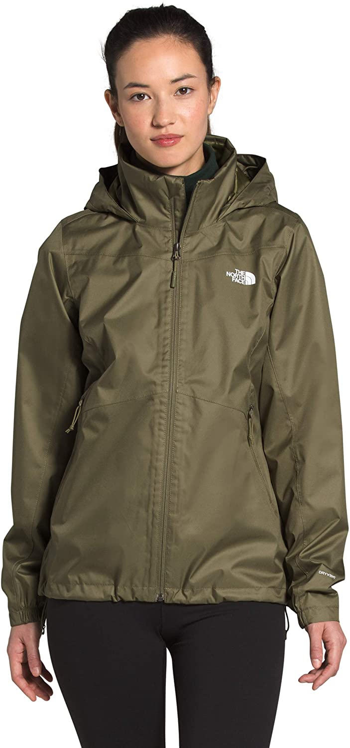 Women's The North Face Resolve Plus Jacket Burnt Olive Green from the Side View
