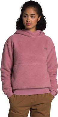 Women's The North Face Sherpa Pullover Hoodie Jacket in Mesa Rose from the front