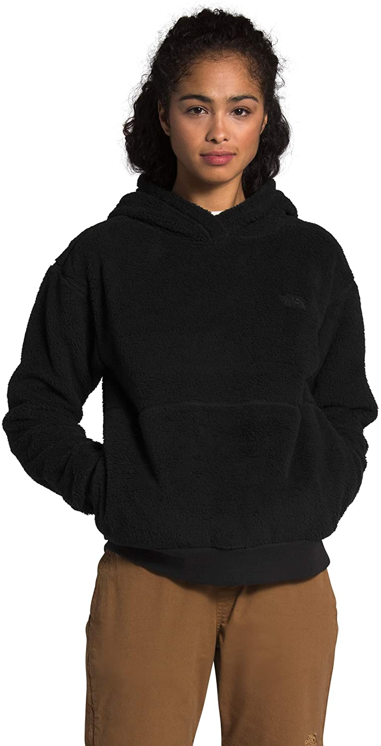 Women's The North Face Sherpa Pullover Hoodie Jacket in TNF Black from the front