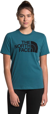 Women's The North Face Short-Sleeve Half Dome Cotton Tee Tee in Mallard Blue/TNF Black