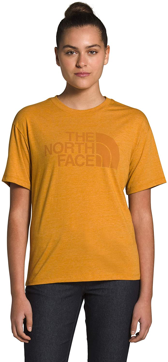 Women's The North Face Short-Sleeve Half Dome Triblend Tee in Citrine Yellow Heather from the front