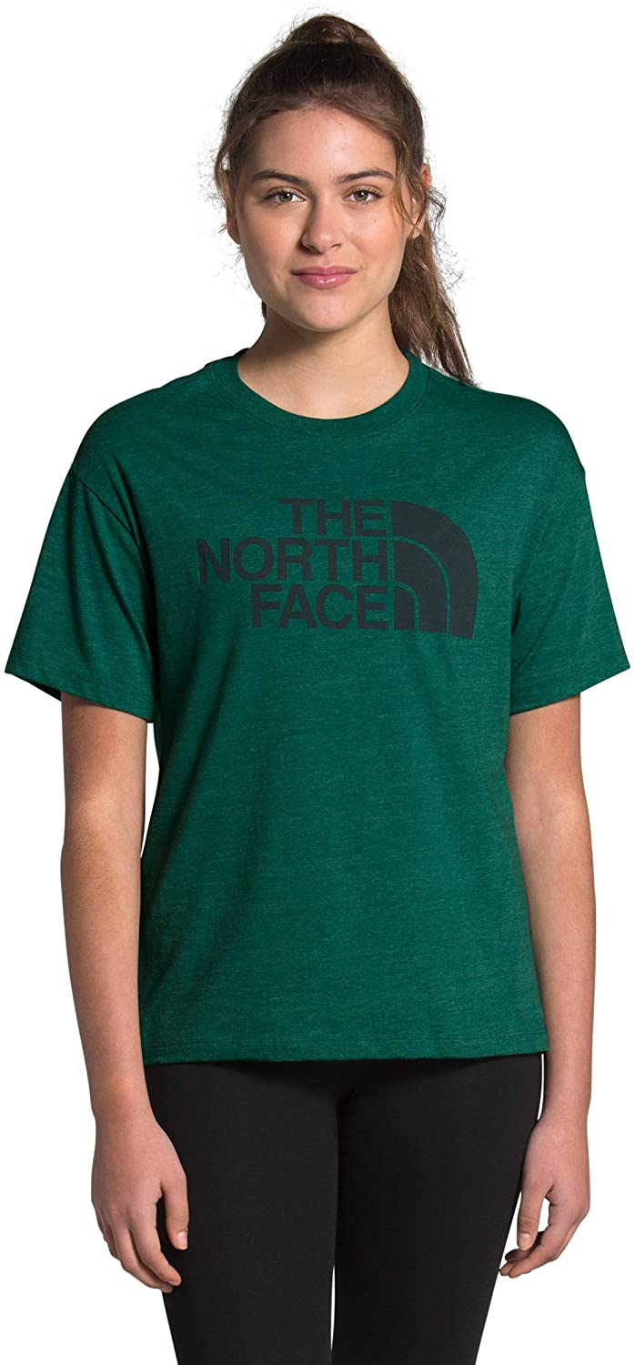 Women's The North Face Short-Sleeve Half Dome Triblend Tee in Evergreen Heather from the front