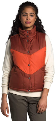 Women's The North Face Sylvester Insulated Vest in Brandy Brown/Burnt Ochre from the front