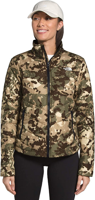 Women's The North Face Tamburello 2 Jacket in Burnt Olive Green Digi Topo Print from the front