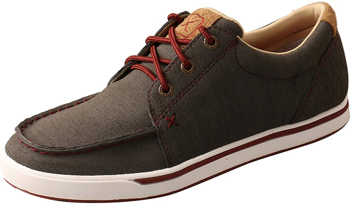 Women's Twisted X Casual Kicks Shoe in Dark Grey & Barn Red from the front