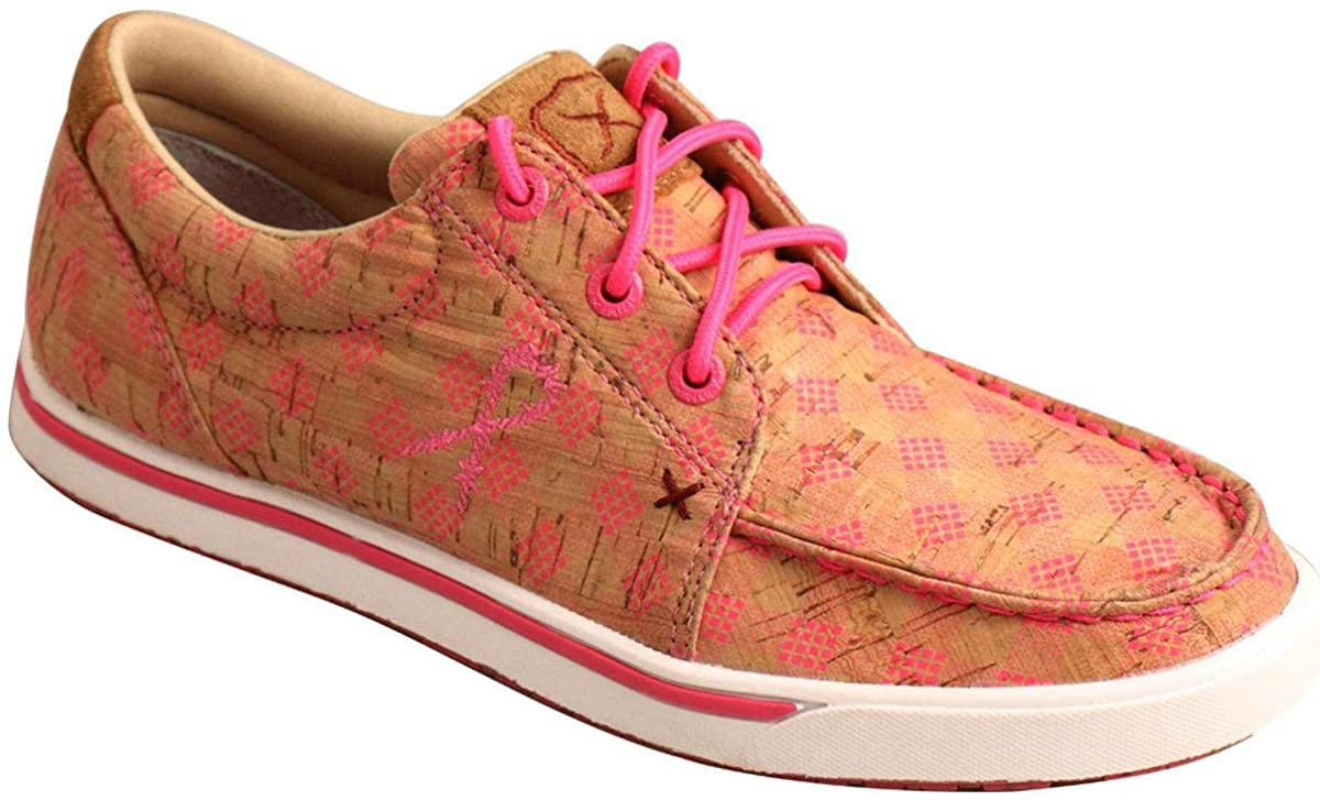 Women's Twisted X Casual Kicks Shoe in Tan & Pink from the front