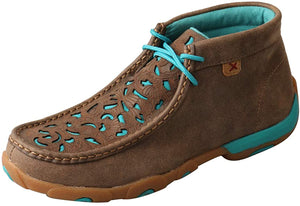 Women's Twisted X Chukka Driving Moccasins Shoe in Bomber & Turquoise Cutout from the front
