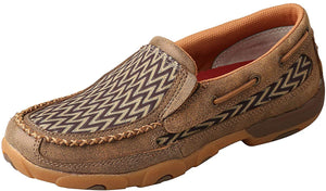 Women's Twisted X Slip-On Driving Moccasins Shoe in Bomber & Chevron from the front