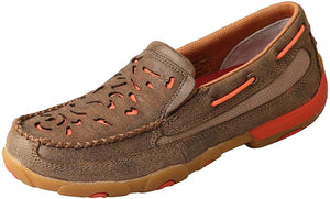 Women's Twisted X Slip-On Driving Moccasins Shoe in Bomber & Coral from the front